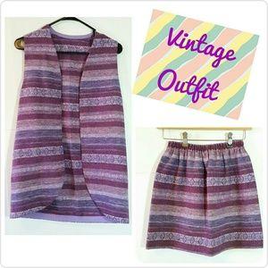 1960s {Purple Vintage Woven Outfit} Vest & Skirt S